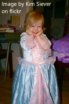 happy child in princess dress