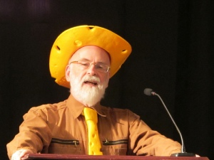 Terry Pratchett in a yellow hat